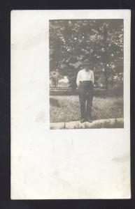 RPPC PIEDMONT KANSAS 1909 MAN DENNIS KANS. VINTAGE REAL PHOTO POSTCARD