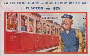 Changing Carriage Train Uniform Station Worker at Clacton On Sea Comic Postcard