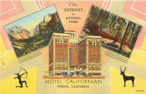 CA, Fresno, California, Hotel Californian, Multi View, Curteich