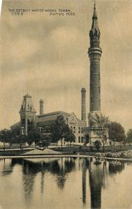 Detroit Michigan~Mansard Roof Next to Detroit Water Works Tower~1909 Postcard