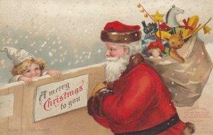 CHRISTMAS, 1900-10s ; Santa Claus & Child at Fence ; Ellen CLAPSADDLE