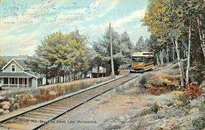WINTHROP MAINE~BIG PINE POINT-LAKE MARANACOOK TROLLEY~1911 PSMK POSTCARD
