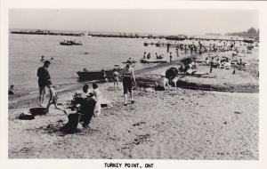 RP: Turkey Point , Ontario , Canada , 1930s; People on Beach and in water