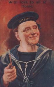 Military Sailor HMS Dauntless Cap Hat With Love WW1 Wartime Greetings Postcard