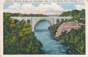 Veterans Memorial Bridge and Genesee River - Rochester, New York - pm 1935 - WB