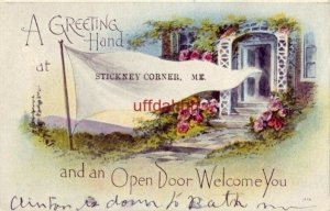 A GREETING HAND at STICKNEY CORNER, ME and an OPEN DOOR WELCOME YOU 1918 pennant
