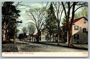Belvidere New Jersey~Third Street~Homes Both Sides~Dirt Road~c1905 Postcard