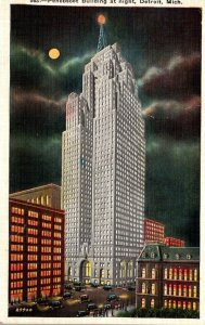 Michigan Detroit Penobscot Building At Night