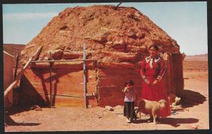 Navajo Woman & Girl in Front of Hogan Home Arizona Unused c1950s