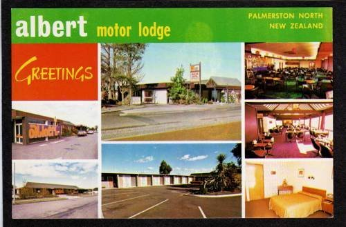 Greetings Albert Motor Lodge PALMERSTON NORTH NEW ZEALAND Postcard