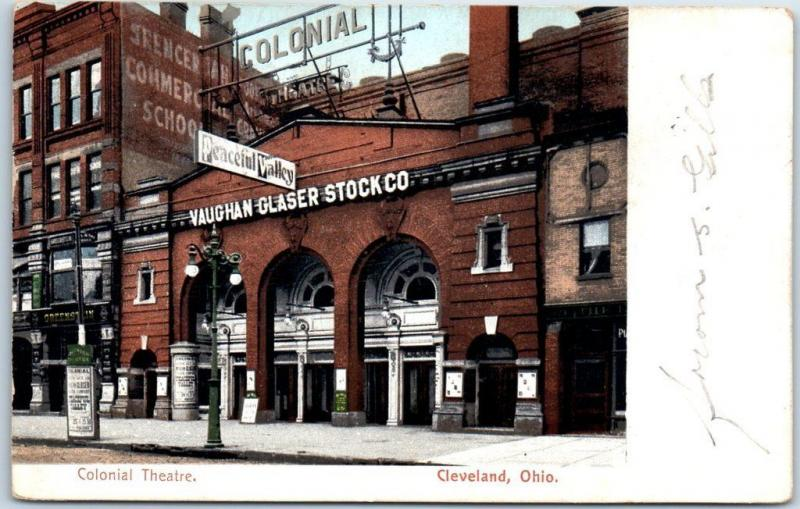 Cleveland, Ohio Postcard COLONIAL THEATRE Street View w/ 1910 OH Cancel