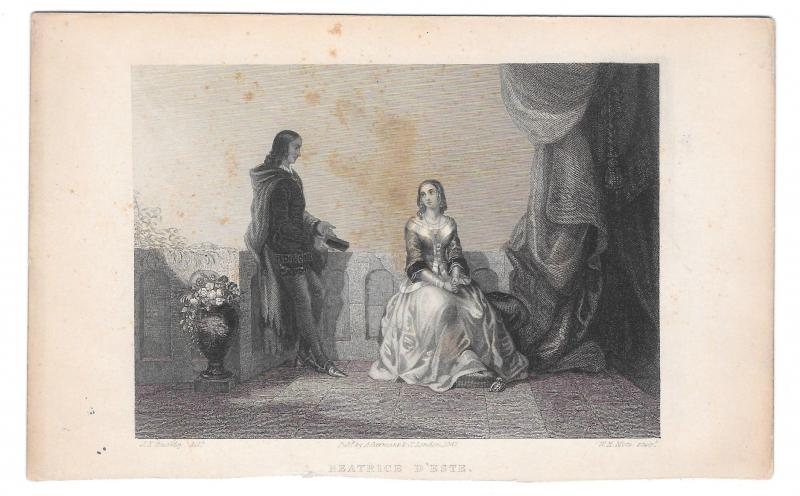 Beatrice D'Estes 1847 W. H. Mote Steel LIne Engraving Print Stiff Card