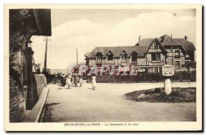 Old Postcard Bernieres sur Mer The descent to the sea