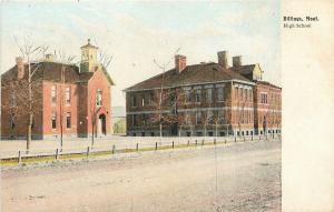 Billings Montana~Dirt Road Past High School~Double Buildings~1910 Postcard
