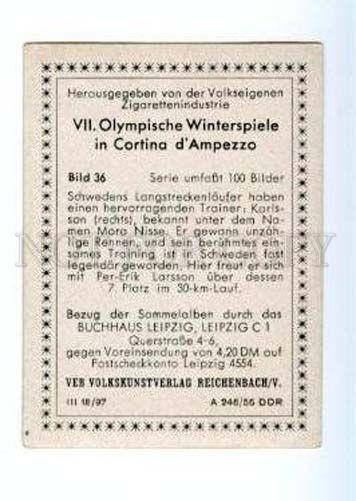 167002 VII Olympic KARLSSON MORA NISSE skier CIGARETTE card