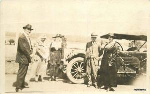 C-1910 Well dressed people posing next to Auto RPPC Real photo postcard 10125