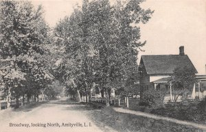Broadway, Looking North, Amityville, Long Island, N.Y., Postcard, Used in 1910