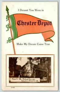 Make My Dream Come True in Chester Depot Vermont~School Mini RPPC Pennant~1914