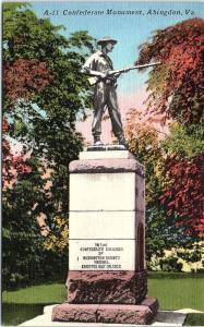 Postcard VA Abingdon Confederate Monument Vintage Linen R57
