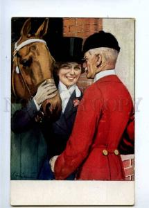 233272 HORSE Stable RIDER Lady & Old Man Vintage Colorful PC