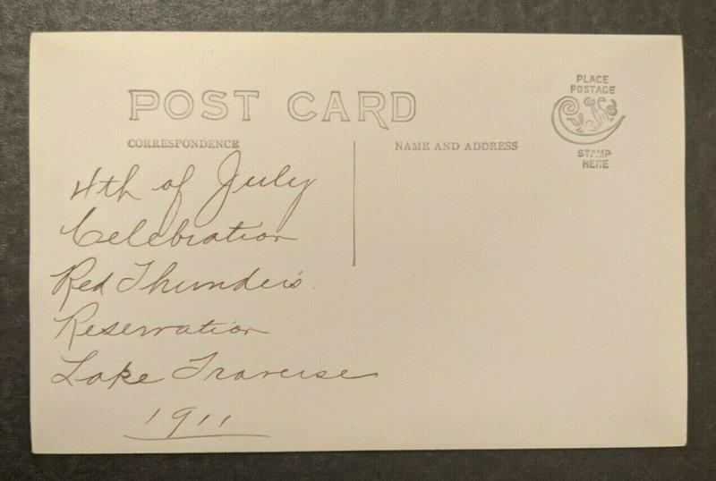 Vintage 1911 4th von Juli Rot Thunders Reservation Echt Foto Postkarte RPPC
