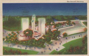 New York World's Fair Vintage Postcard Gas Exhibits Building -LINEN
