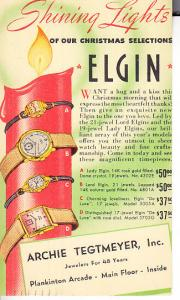 Elgin Watches on Postal Card Ad Mailer 1940