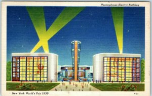 1939 New York World's Fair Postcard Westinghouse Electric Building Linen