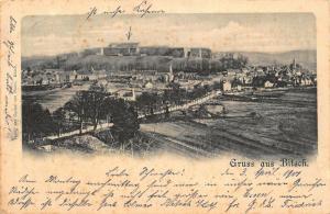 Gruss aus Bitsch General view Castle Church Panorama Postcard