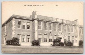 Norway Maine~High School Close Up~1940s B&W Postcard