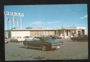 WEST BRANCH IOWA RESTAURANT GAS STATION OLD CARS ADVERTISING POSTCAD COPY