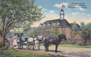Horse Drawn Carriage Colonial Coach In Front Of Capitol Wiliamsburg Virginia ...