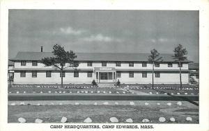Camp Edwards Massachusetts~Army Post Headquarters~1940s WWII B&W Postcard