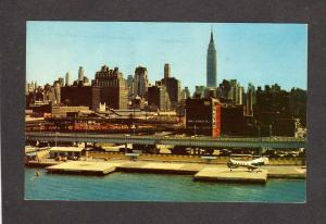 NY West 30th St Heliport Helicopter Airplane Planes New York City NYC Postcard