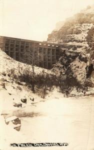Douglas Wyoming~LaPrele Dam~Low Creek~Snow on Bluffs~1928 Real Photo~RPPC