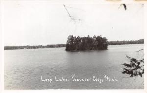 Traverse City Michigan~Long Lake-View of Island~Vintage RPPC-Postcard