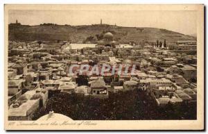 Old Postcard Jerusalem and Mont Des Oliviers