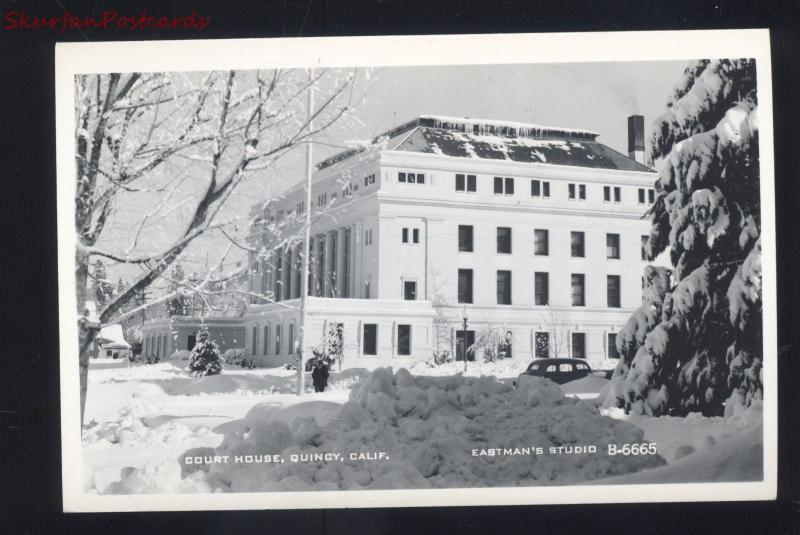 QUINCY CALIVORNIA DOWNTOWN COURT HOUSE WINTER SNOW REAL PHOTO POSTCARD