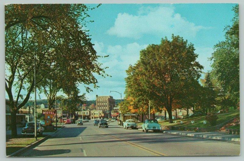 Iron Mountain Michigan~Motel on Stevenson Ave~Road to Downtown~1950s Postcard