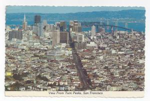 CA San Francisco Bay Bridge View from Twin Peaks Vintage Postcard 4X6