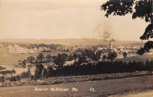 North Anson Maine~Birdseye Panorama~Bridge~Factory Smokestacks~Homes~1919 RPPC