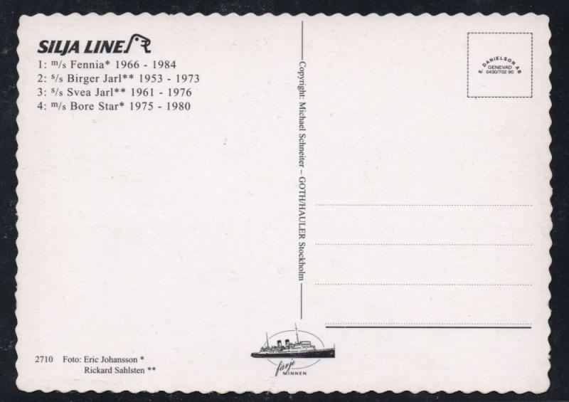 Colour PC 4 Silja Line steamships unused