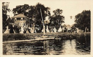 Old Town ME Indian Island Gala Day Teepee's Real Photo Postcard