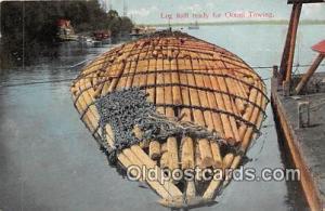 Ocean Towing Postcard Post Card Log Raft