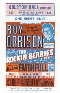 Roy Orbison Marianne Faithful Live in 1965 Colston Hall Bristol Theatre Poste...