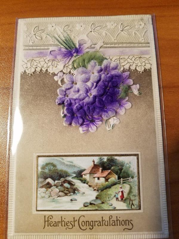 Antique Heartiest Congratulations Postcard - Heavily Embossed and with Velvet