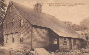 Rear view, showing second floor overhang, Hyland House, Guilford, Connecticut...