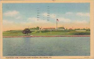 Maryland Baltmore Panorama View Historic Fort Mchenry 1941