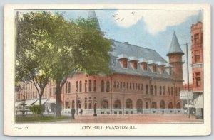 Evanston Illinois~City Hall~Hayes Clothing & Hats Store~1910 Handcolored PC