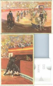 pc738 postcard Bull Fighters TWO Different MOBSC